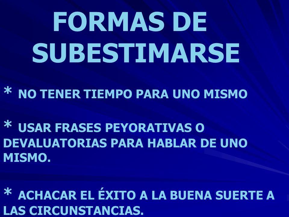 FORMAS DE SUBESTIMARSE
