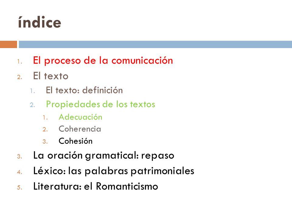 índice El proceso de la comunicación El texto
