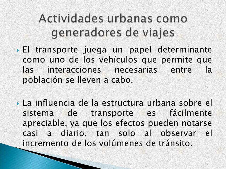 Actividades urbanas como generadores de viajes