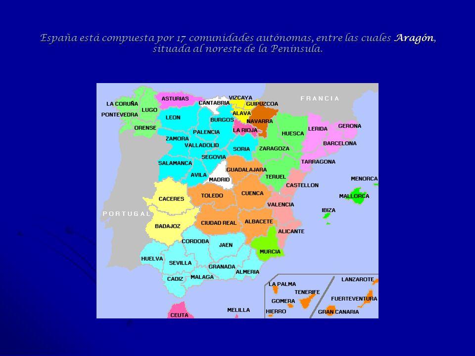 España está compuesta por 17 comunidades autónomas, entre las cuales Aragón, situada al noreste de la Península.