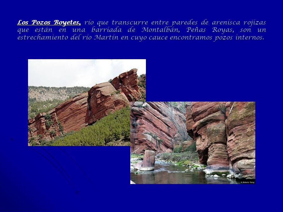 Los Pozos Boyetes, río que transcurre entre paredes de arenisca rojizas que están en una barriada de Montalbán, Peñas Royas, son un estrechamiento del río Martín en cuyo cauce encontramos pozos internos.