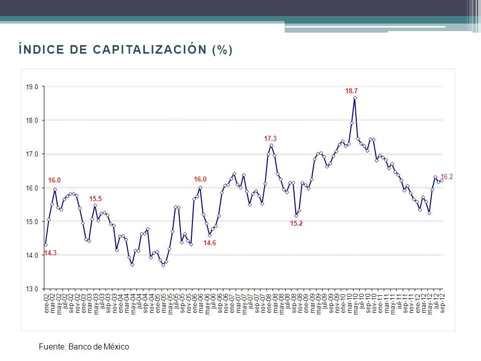 ÍNDICE DE CAPITALIZACIÓN (%)