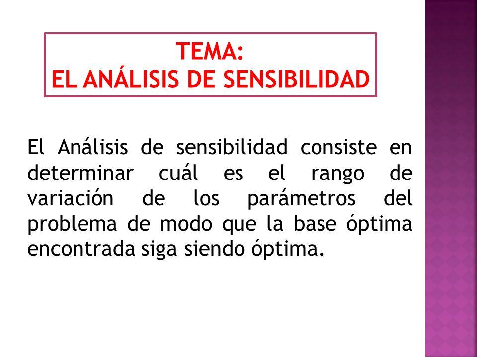 EL ANÁLISIS DE SENSIBILIDAD