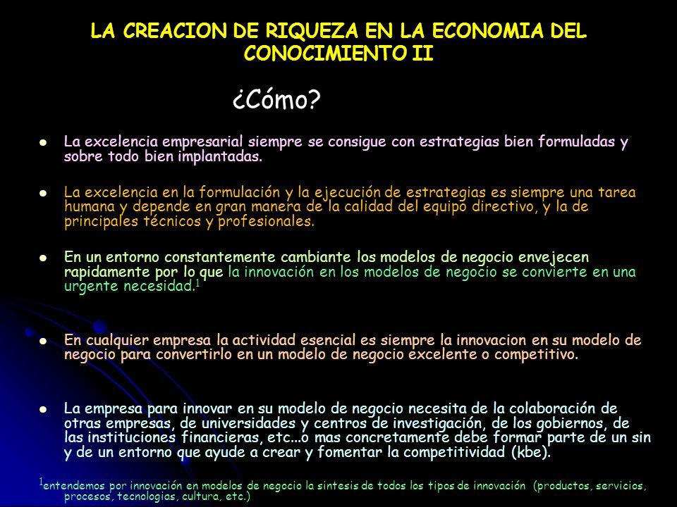 LA CREACION DE RIQUEZA EN LA ECONOMIA DEL CONOCIMIENTO II