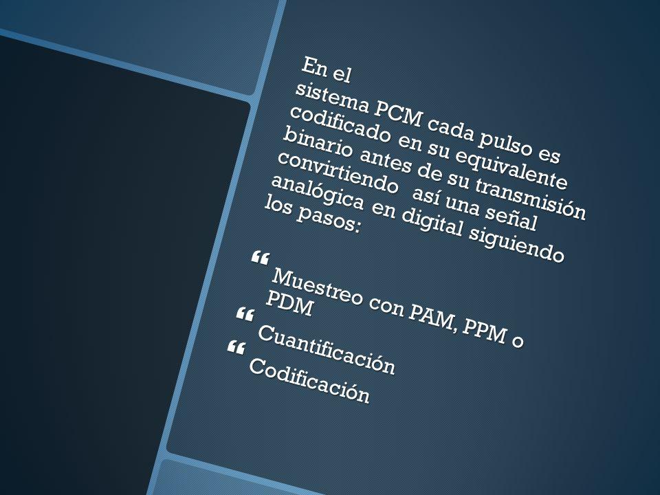 En el sistema PCM cada pulso es codificado en su equivalente binario antes de su transmisión convirtiendo así una señal analógica en digital siguiendo los pasos: