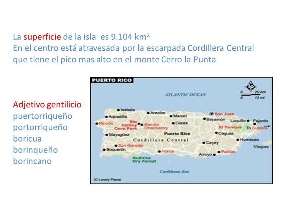 La superficie de la isla es 9.104 km2