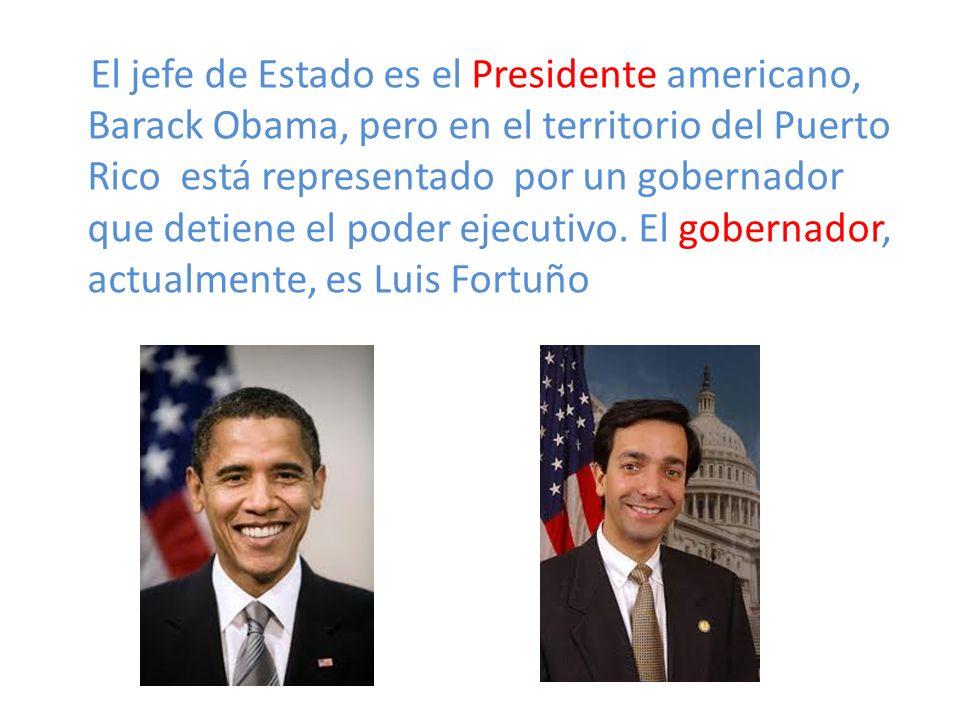 El jefe de Estado es el Presidente americano, Barack Obama, pero en el territorio del Puerto Rico está representado por un gobernador que detiene el poder ejecutivo.