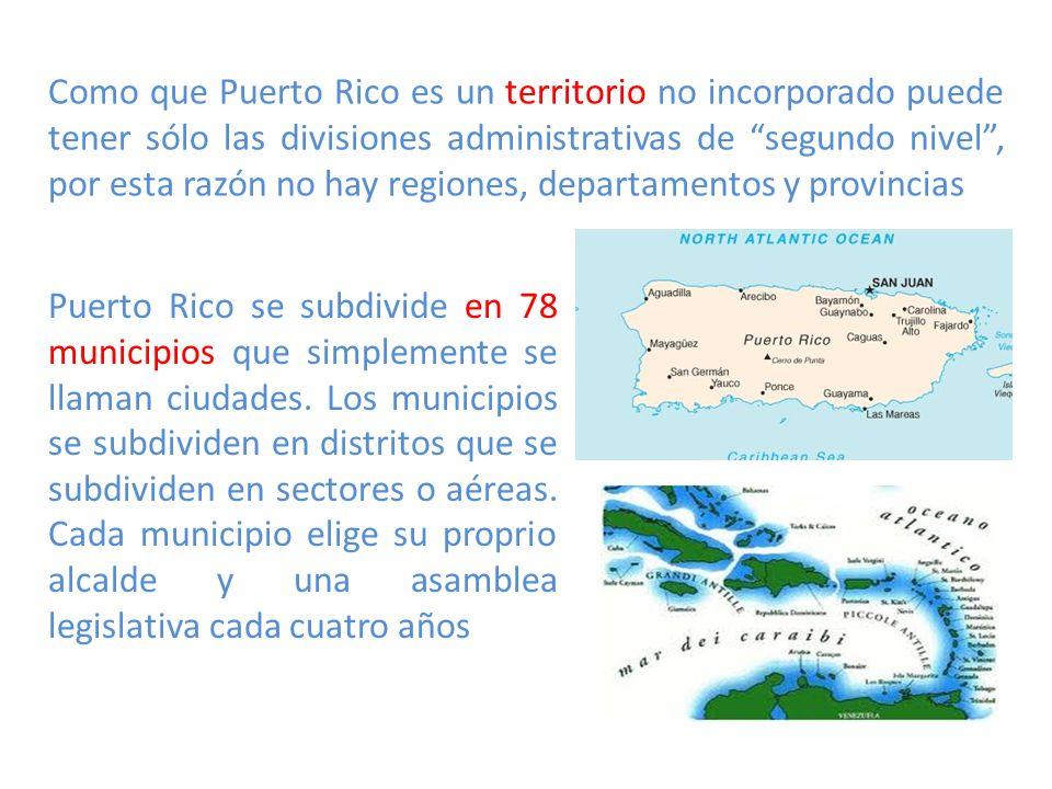 Como que Puerto Rico es un territorio no incorporado puede tener sólo las divisiones administrativas de segundo nivel , por esta razón no hay regiones, departamentos y provincias