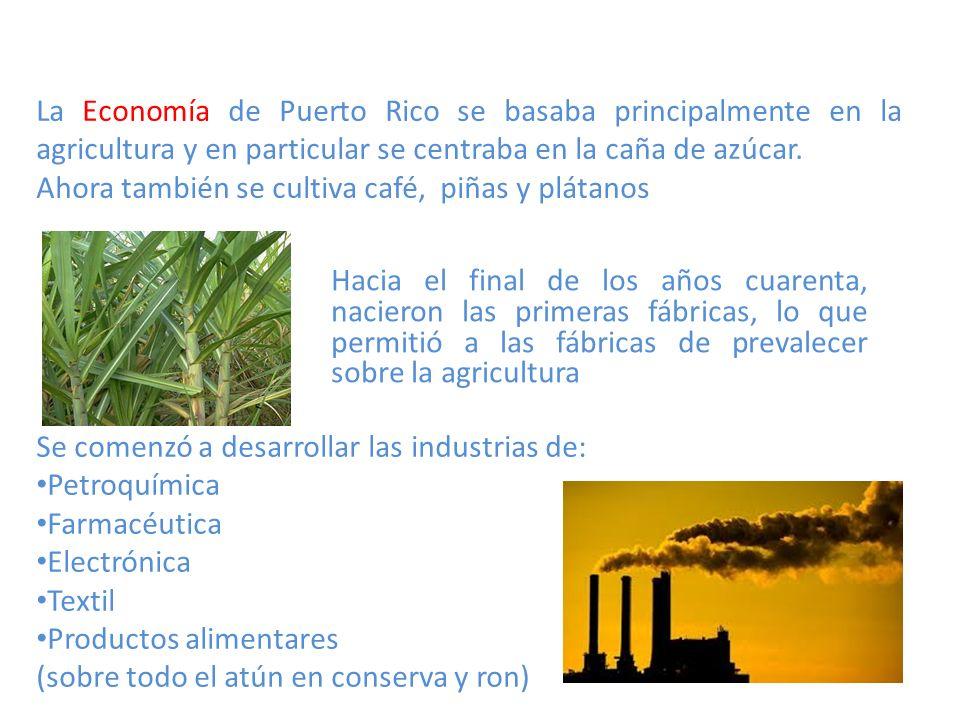 La Economía de Puerto Rico se basaba principalmente en la agricultura y en particular se centraba en la caña de azúcar.