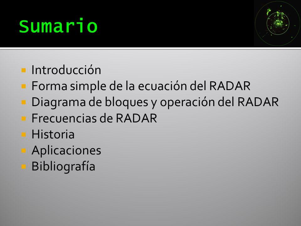 Sumario Introducción Forma simple de la ecuación del RADAR