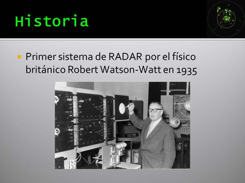 Historia Primer sistema de RADAR por el físico británico Robert Watson-Watt en 1935