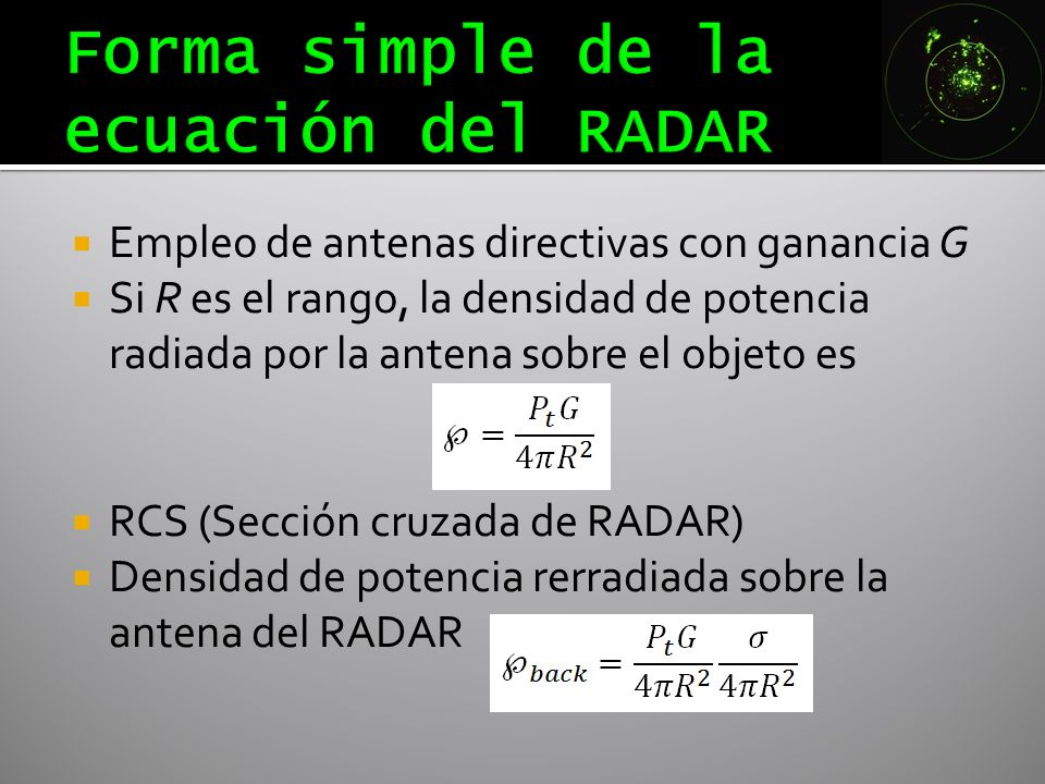 Forma simple de la ecuación del RADAR