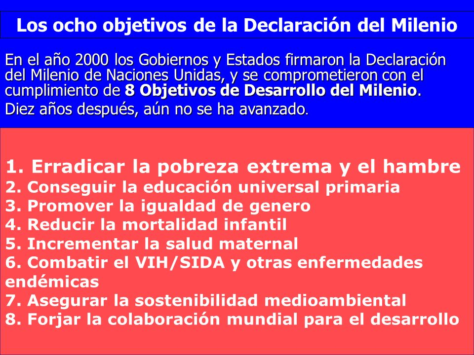 Los ocho objetivos de la Declaración del Milenio