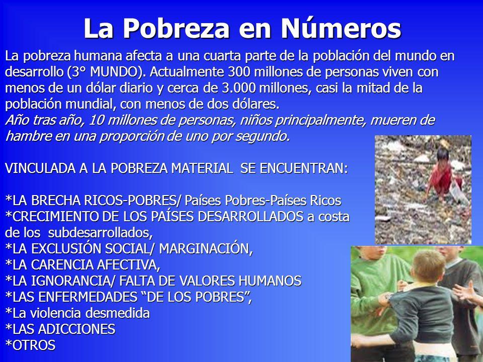 La Pobreza en Números La pobreza humana afecta a una cuarta parte de la población del mundo en.