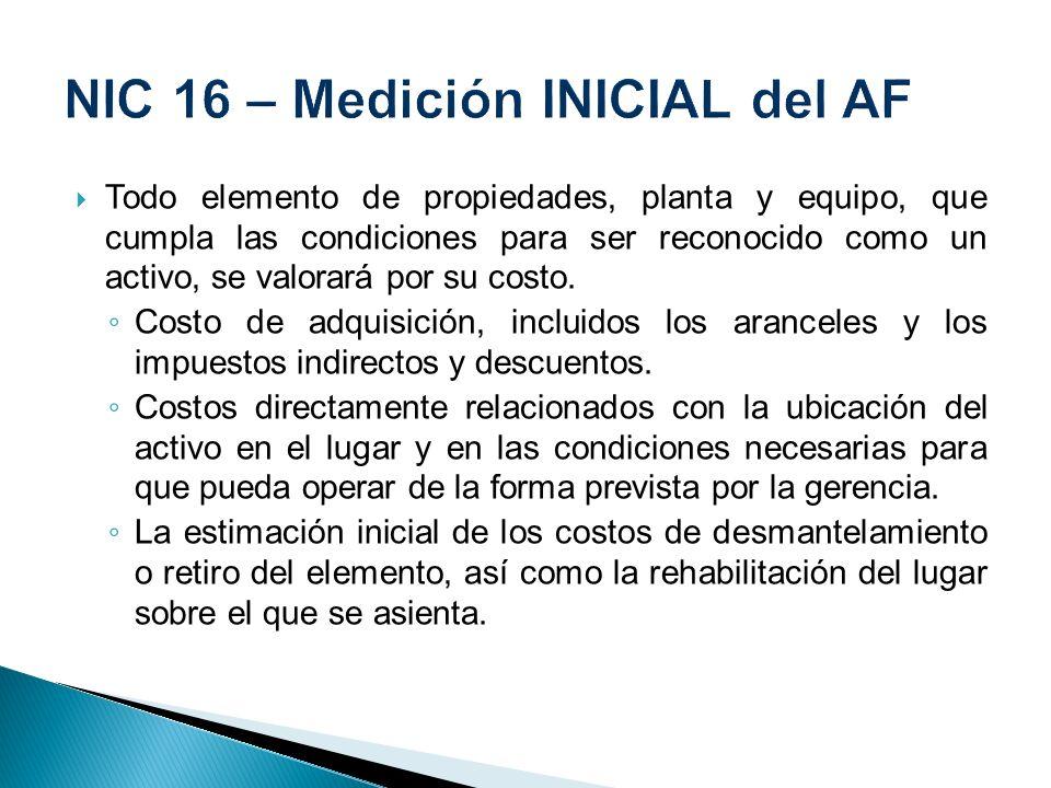 NIC 16 – Medición INICIAL del AF