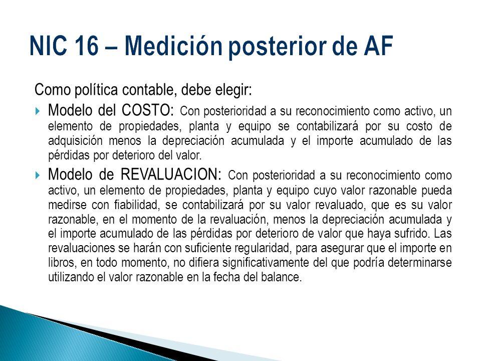 NIC 16 – Medición posterior de AF