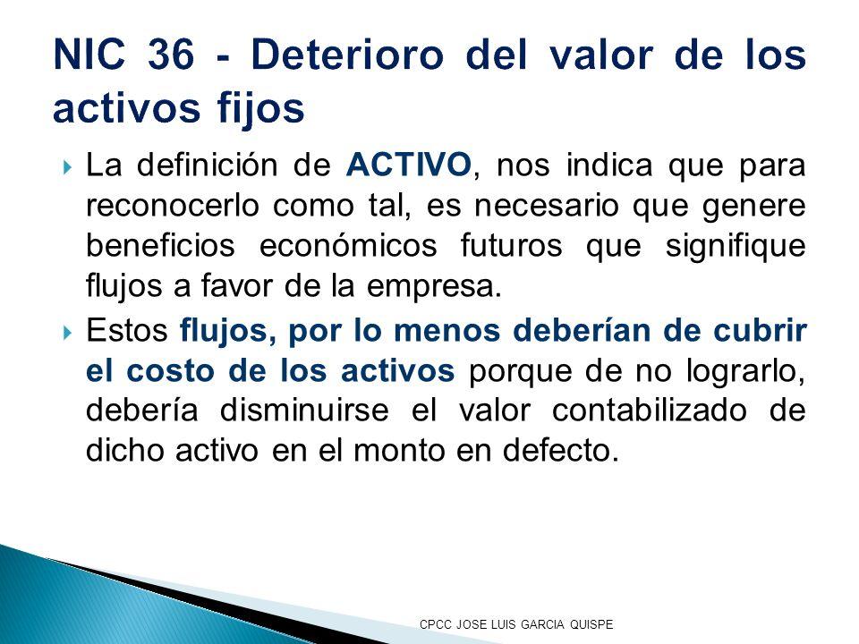 NIC 36 - Deterioro del valor de los activos fijos