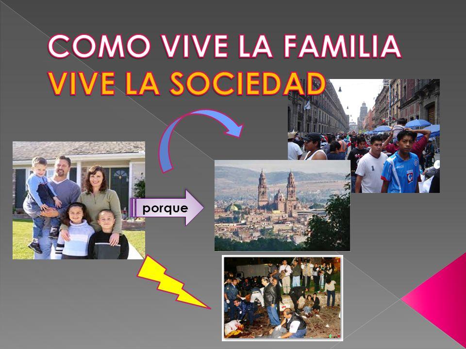 COMO VIVE LA FAMILIA VIVE LA SOCIEDAD