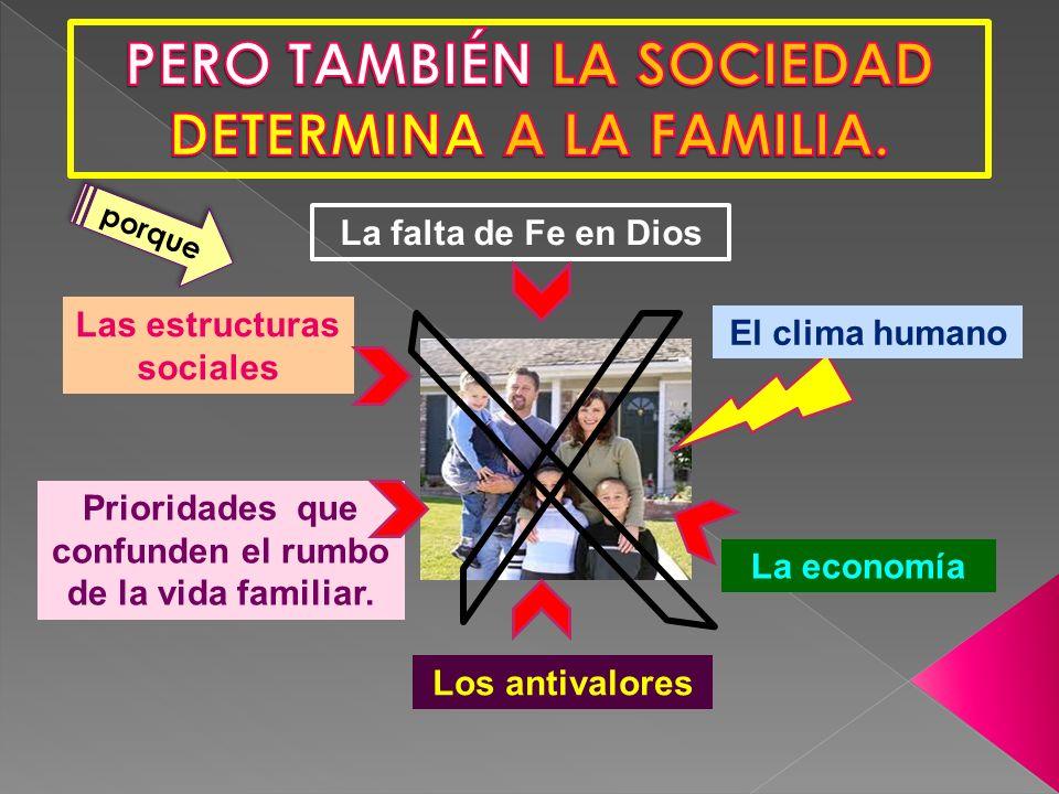 PERO TAMBIÉN LA SOCIEDAD DETERMINA A LA FAMILIA.