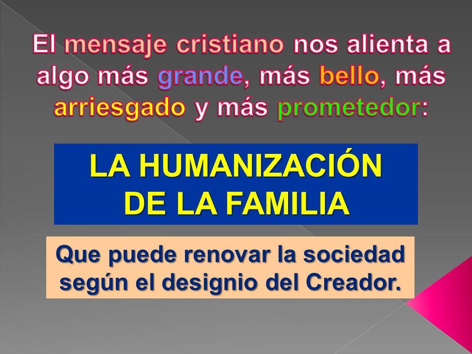 Que puede renovar la sociedad según el designio del Creador.