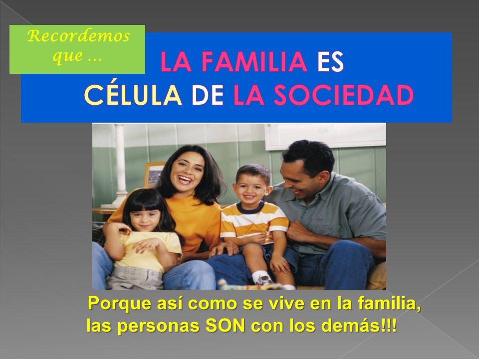 LA FAMILIA ES CÉLULA DE LA SOCIEDAD
