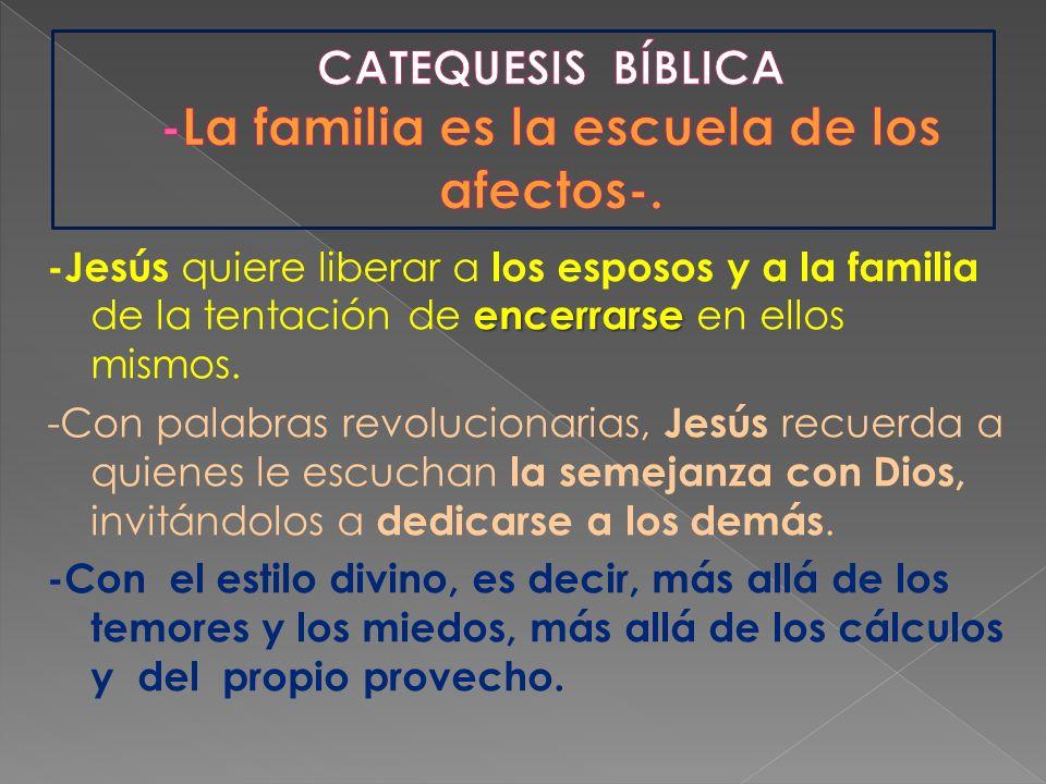 CATEQUESIS BÍBLICA -La familia es la escuela de los afectos-.