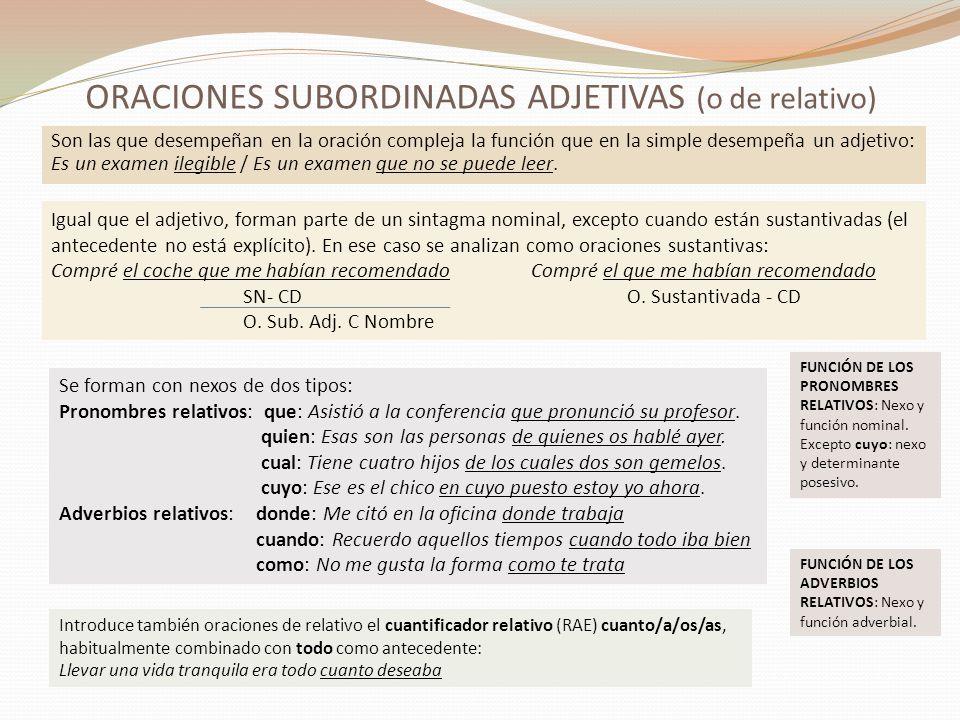 ORACIONES SUBORDINADAS ADJETIVAS (o de relativo)