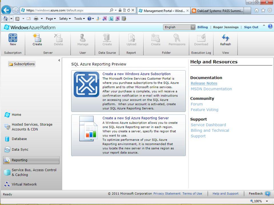 SQL Azure Reporting