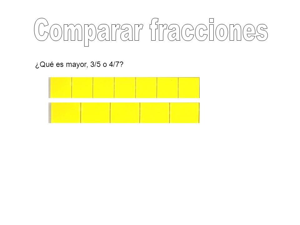 Comparar fracciones ¿Qué es mayor, 3/5 o 4/7