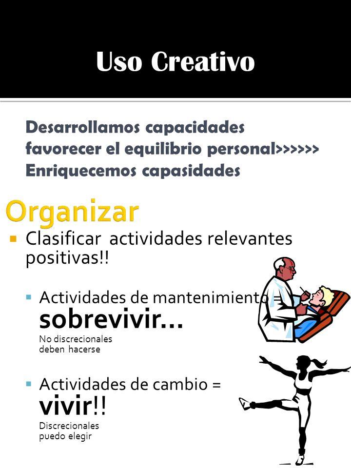 Organizar Uso Creativo Clasificar actividades relevantes positivas!!