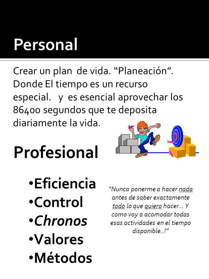 Personal Profesional Eficiencia Control Chronos Valores Métodos