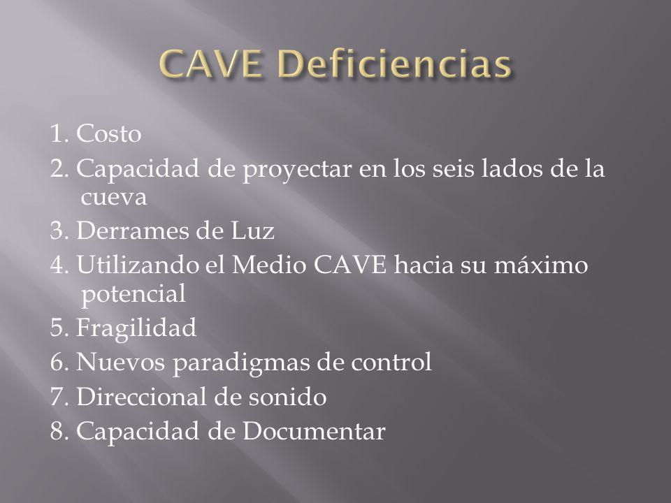 CAVE Deficiencias 1. Costo