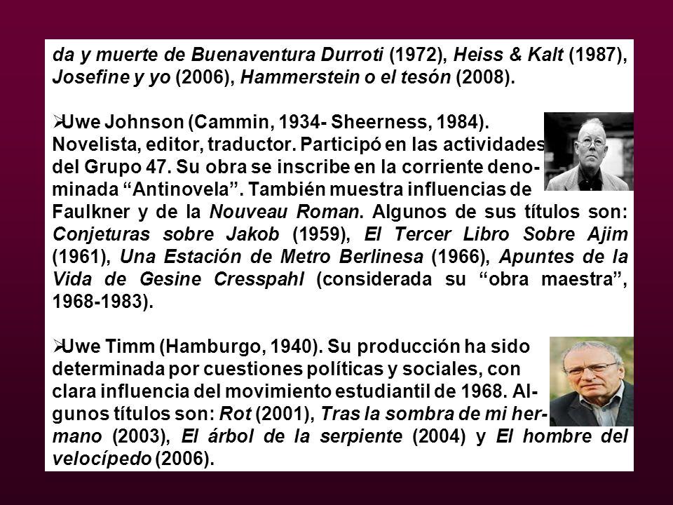 da y muerte de Buenaventura Durroti (1972), Heiss & Kalt (1987), Josefine y yo (2006), Hammerstein o el tesón (2008).