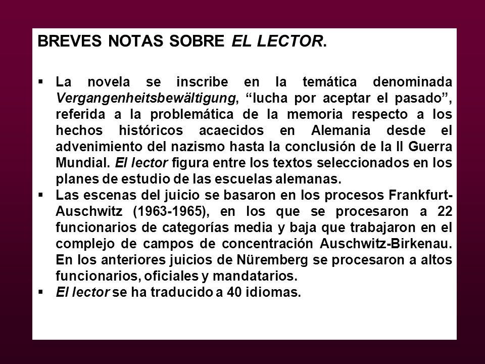 BREVES NOTAS SOBRE EL LECTOR.