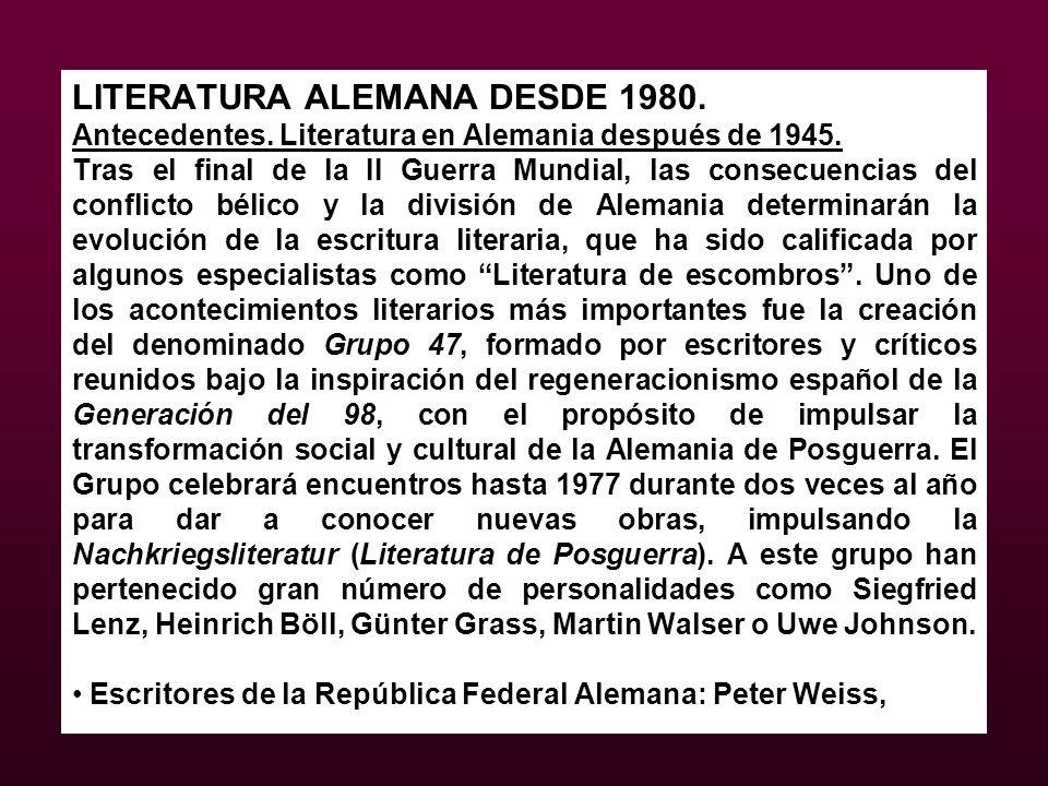 LITERATURA ALEMANA DESDE 1980.