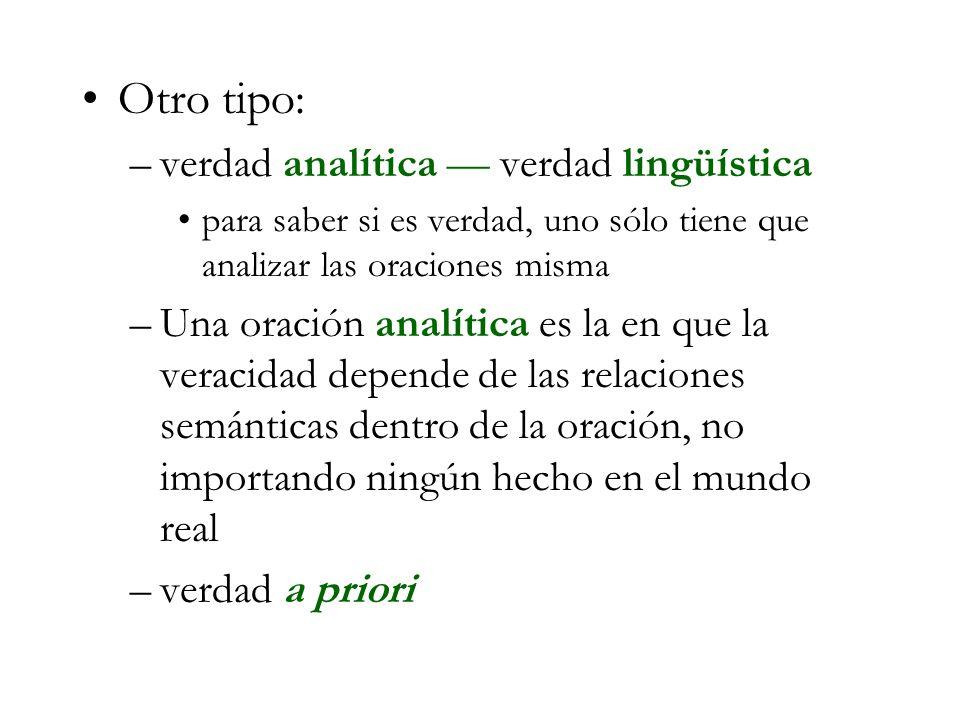 Otro tipo: verdad analítica — verdad lingüística