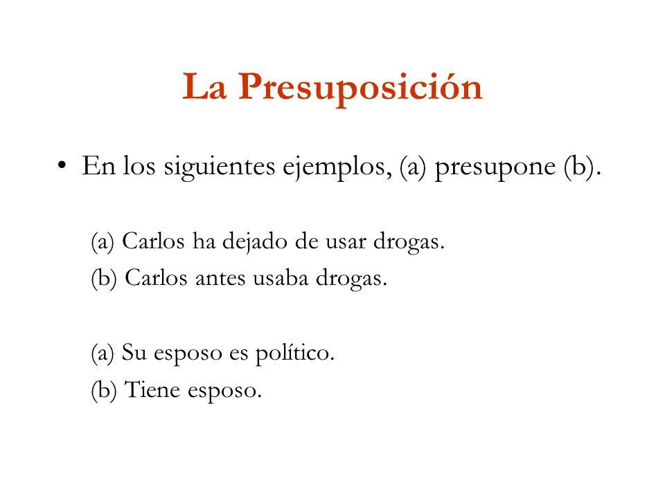 La Presuposición En los siguientes ejemplos, (a) presupone (b).