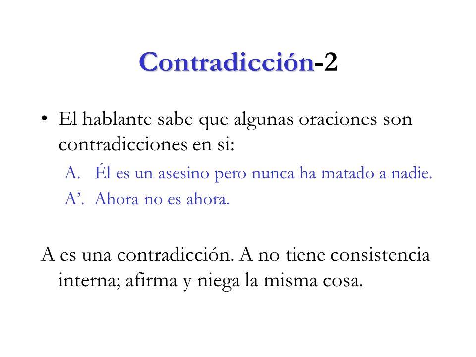 Contradicción-2 El hablante sabe que algunas oraciones son contradicciones en si: A. Él es un asesino pero nunca ha matado a nadie.