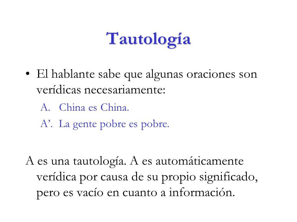 Tautología El hablante sabe que algunas oraciones son verídicas necesariamente: A. China es China.