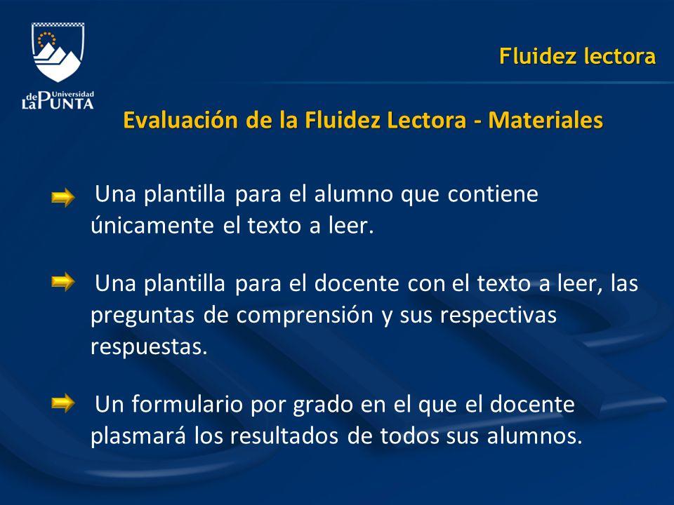 Evaluación de la Fluidez Lectora - Materiales