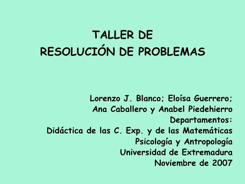 TALLER DE RESOLUCIÓN DE PROBLEMAS