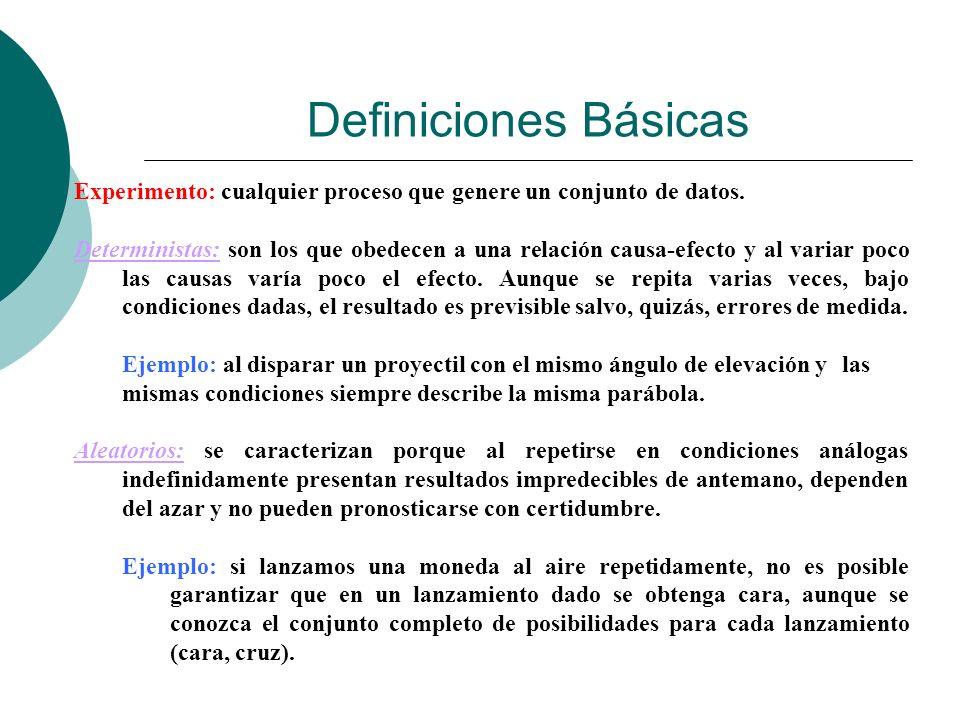 Definiciones Básicas Experimento: cualquier proceso que genere un conjunto de datos.