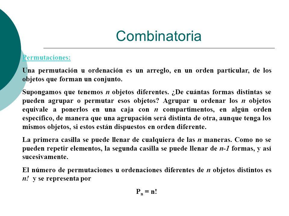 Combinatoria Permutaciones: