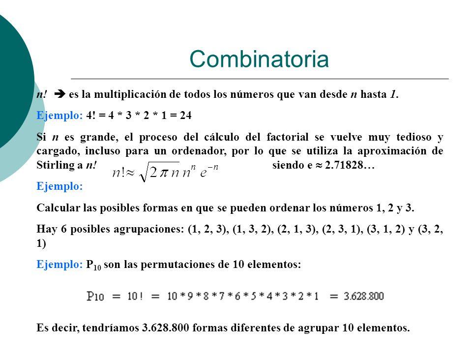 Combinatoria n!  es la multiplicación de todos los números que van desde n hasta 1. Ejemplo: 4! = 4 * 3 * 2 * 1 = 24.