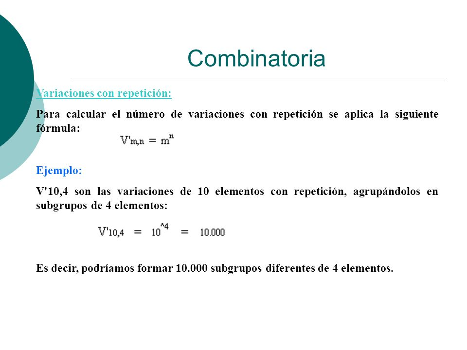 Combinatoria Variaciones con repetición: