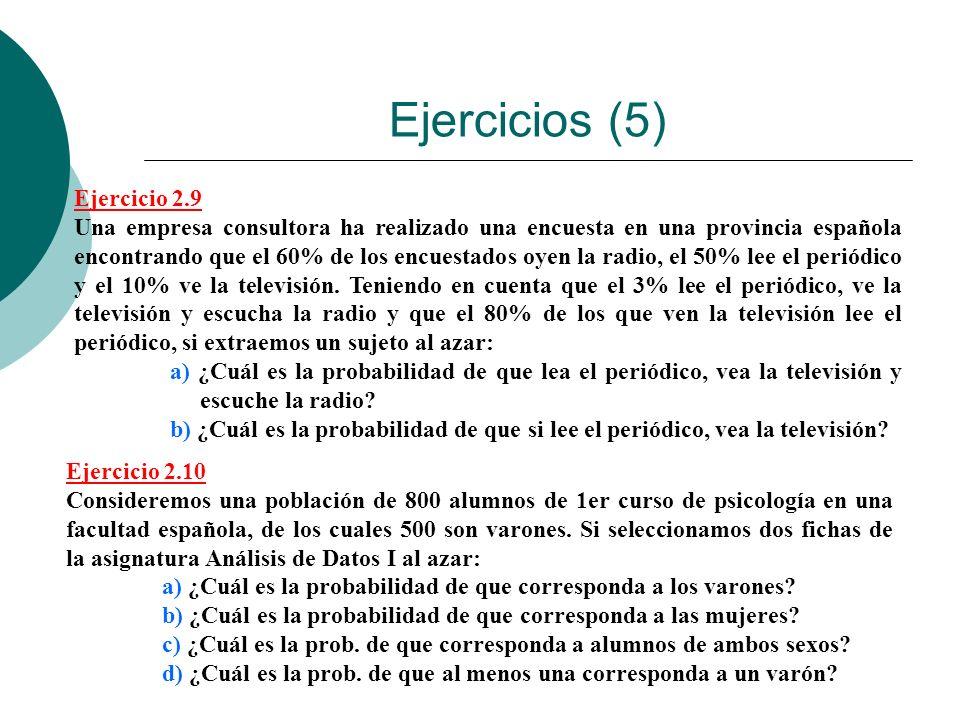 Ejercicios (5) Ejercicio 2.9