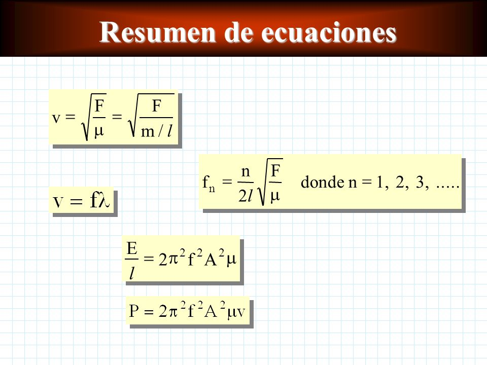 Resumen de ecuaciones E l f A = 2 p m v F m l = / f n l F = 2 m donde