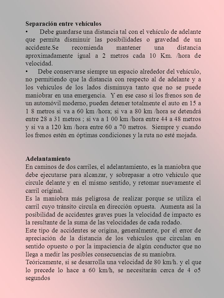 Separación entre vehículos
