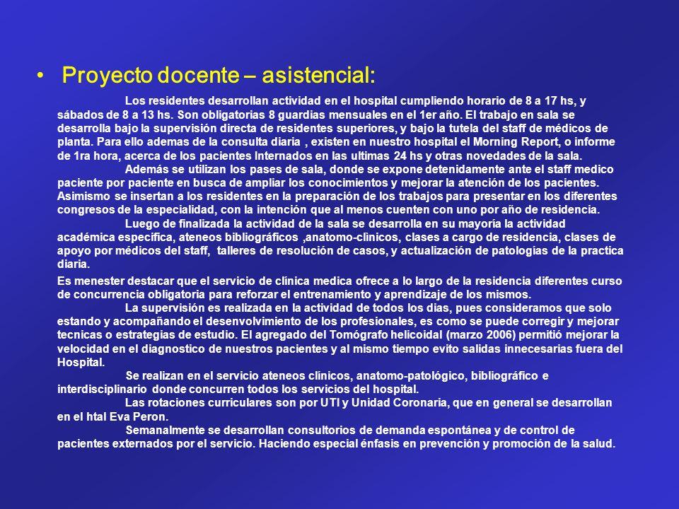 Proyecto docente – asistencial: