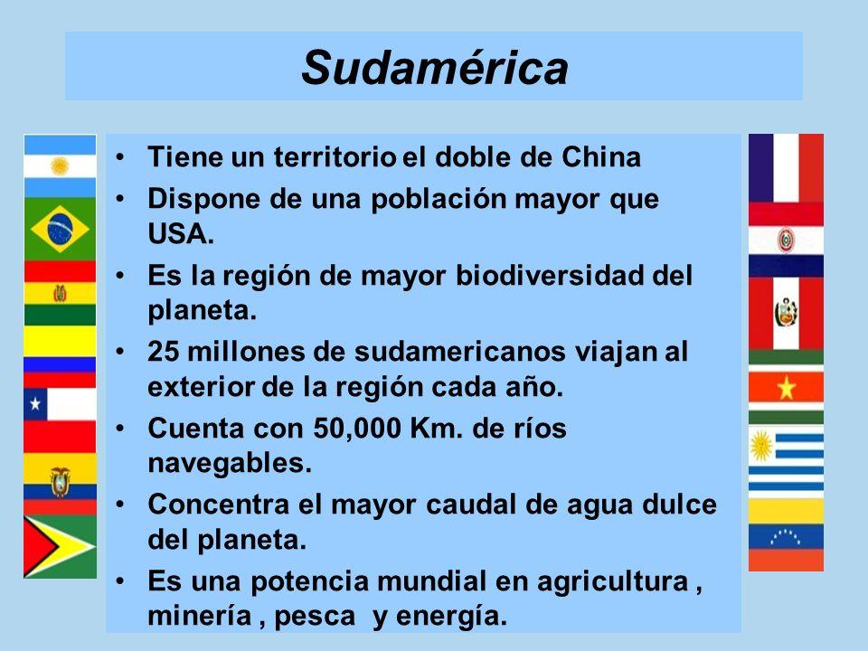 Sudamérica Tiene un territorio el doble de China